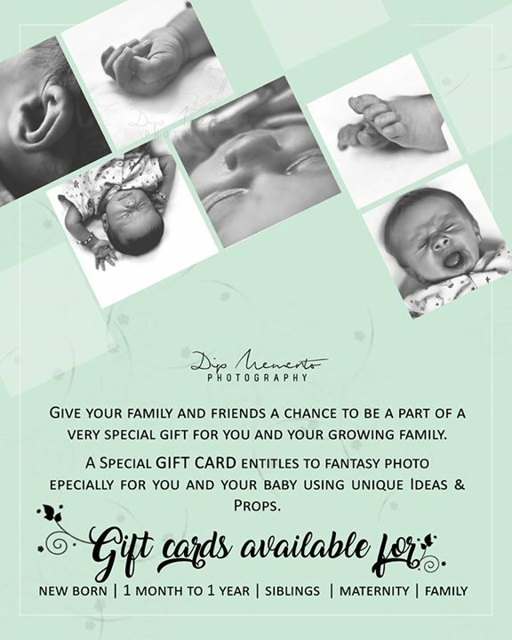 A PERFECT GIFT!  What is the most amazing and Special Gift you can give to your BABY, FAMILY & FRIENDS!  For booking and inquiry call/whatsapp  on 9924227745  #MementoGiftCard #dipmementophotography #mementophotography #kidsphotography #babyshoot #memories #ahmedabad #babyphotographer #gift #specialmemoires.