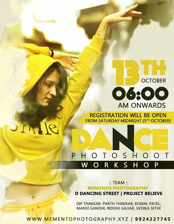 Hello Artists, Dance Photography Workshop.  Workshop date 13th oct,  Time 6.00am - 11.00am.  Registration will be open from Saturday Midnight(5th Oct). ( via Google form link)  Charges will be mentioned in the upcoming Registration form and  poster for particular date.  100% Prior to workshop meetup.  Thank you Team : Mememto Photography | D Dancing Street | Project Believe  Contact 9924227745 for any queries.  Dance Photography workshop in ahmedabad..  #dancephotographer #dancephotographyworkshop #ahmedabad #amdavadi #amdavad #dancephotography #dancers #photographer #dancephoto #workshop #9924227745 #dipmementophotography #ddancingstreet #projectbelieve #streetshoot  #streetconceptshoot #conceptshoot #conceptphotoshoot #ahmedabad #exploreahmedabad #dslrofficial  #dance #photooftheday  #dancerslife  #bestoftheday #danceshoot  #indiaportraits #indiaphotoproject #conceptworkshop #keepdancing
