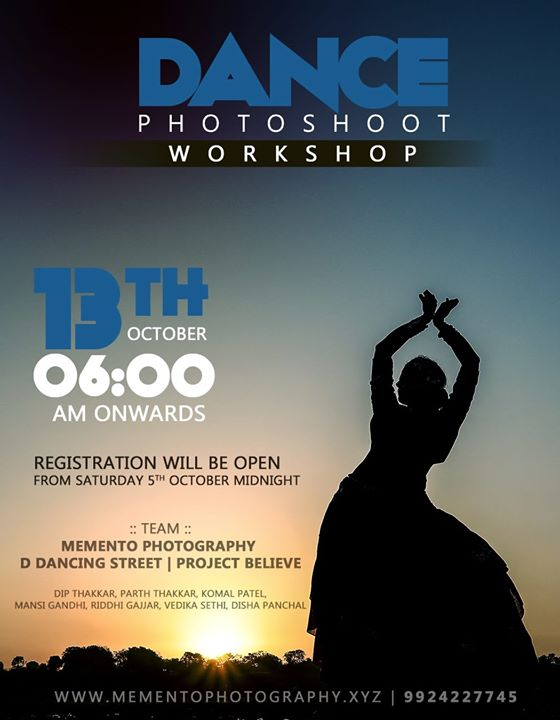 Hello Artists,  Dance Photography Workshop.  Workshop date 13th oct,  Time 6.00am - 11.00am.  Registration will be open from Saturday Midnight(5th Oct). ( via Google form link)  Charges will be mentioned in the upcoming   poster for particular date.  100% Prior to workshop meetup.  Thank you Team : Mememto Photography | D Dancing Street | Project Believe  Contact 9924227745 for any queries.  First time Dance photography workshop in ahmedabad  #dancephotographer #dancephotographyworkshop #ahmedabad #amdavadi #amdavad #dancephotography #dancers #photographer #dancephoto #workshop #9924227745 #dipmementophotography #ddancingstreet #projectbelieve #streetshoot  #streetconceptshoot #conceptshoot #conceptphotoshoot #ahmedabad #exploreahmedabad #dslrofficial  #dance #photooftheday  #dancerslife  #bestoftheday #danceshoot  #indiaportraits #indiaphotoproject #conceptworkshop #keepdancing