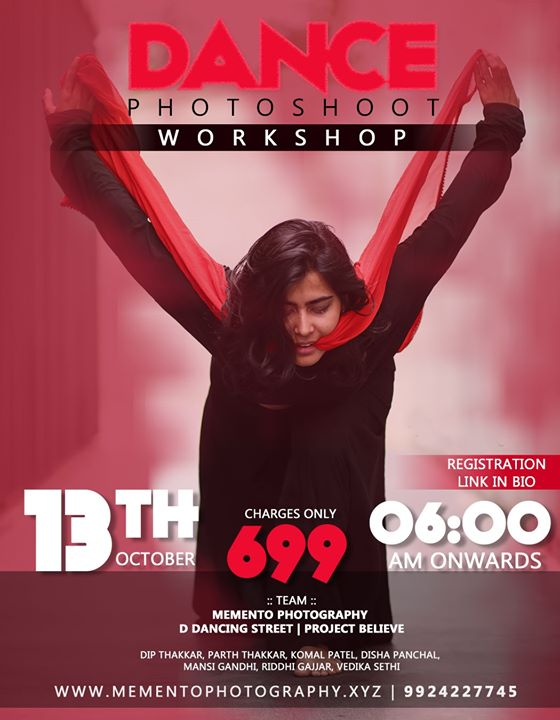 Hello Dancers & Photographers,  A Team of people with dance and photography background will be there for guiding foot.  #Workshop will have live demonstration with dancers and photographers.  So if you are interested, open given registration form link and fill the form..  https://forms.gle/R9hqM5vzN4m7AYTY7  Dance Photography Workshop Workshop date 13th oct, Time 6.00am - 11.00am.. Workshop Meetup on 11th oct 7.30 onwards.. 100% Prior to workshop meetup.  Thank you Team : Mememto Photography | D Dancing Street | Project Believe | Disha Bridal Studio  Contact 9924227745 for any queries.  First time dance photography workshop in ahmedabad.. #dancephotographer #dancephotographyworkshop #ahmedabad #amdavadi #amdavad #dancephotography #dancers #photographer #dancephoto #workshop #dipmementophotography #ddancingstreet #projectbelieve #streetshoot #streetconceptshoot #conceptshoot #conceptphotoshoot #ahmedabad #exploreahmedabad #dance #dancerslife #danceshoot #conceptworkshop #keepdancing