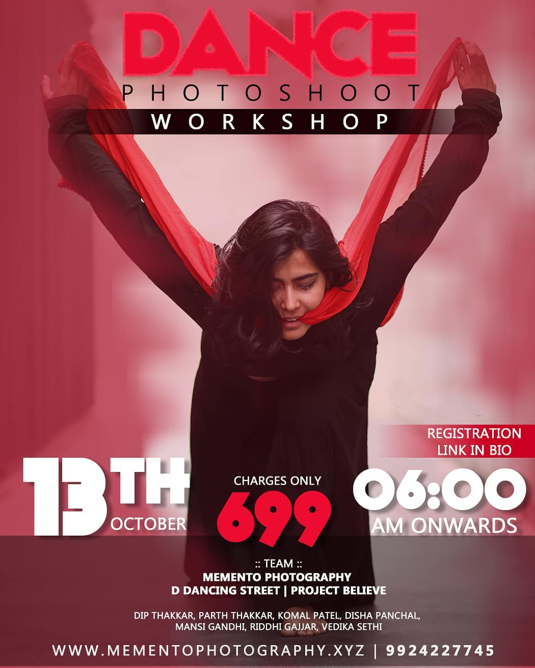Hello Dancers & Photographers,  A Team of people with dance and photography background will be there for guiding  foot.  #Workshop will have live demonstration with dancers and photographers.  So if  you are interested, open given registration form link in Bio and fill the form.. https://forms.gle/R9hqM5vzN4m7AYTY7  Dance Photography Workshop Workshop date 13th oct,  Time 6.00am - 11.00am.. 100% Prior to workshop meetup.  Thank you Team :  Mememto Photography |  D Dancing Street | Project Believe | Disha Bridal Studio  Contact 9924227745 for any queries.  First time dance photography workshop in ahmedabad.. #dancephotographer #dancephotographyworkshop #ahmedabad #amdavadi #amdavad #dancephotography #dancers #photographer #dancephoto #workshop #9924227745 #dipmementophotography #ddancingstreet #projectbelieve #streetshoot  #streetconceptshoot #conceptshoot #conceptphotoshoot #ahmedabad #exploreahmedabad #dslrofficial  #dance #photooftheday  #dancerslife  #bestoftheday #danceshoot  #indiaportraits #indiaphotoproject #conceptworkshop #keepdancing