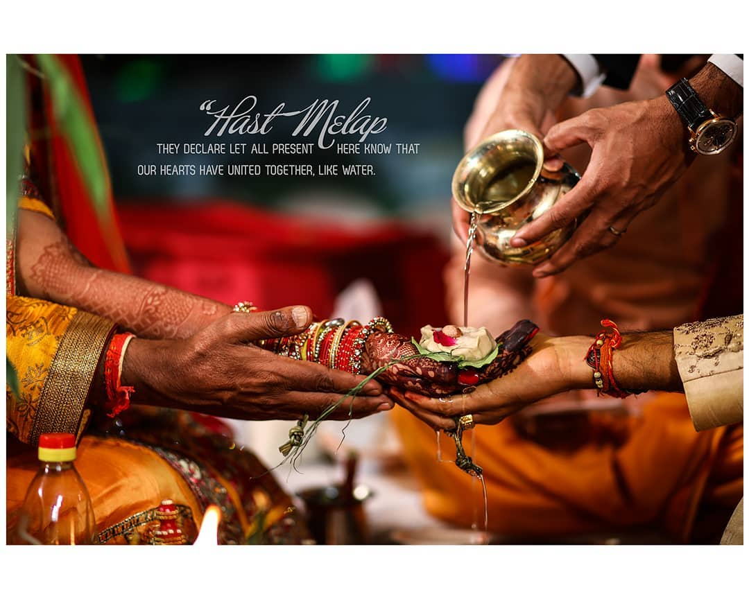 #Hastmelap Ritual . . . Often grouped together in the Kanyadaan ceremony, the Hastmelap is translated from Sanskirt to mean 'the joining of the hands'. The couple is united with the union of their hands in the presence of Agni Devta (the Lord of Fire), represented by the fire lit during the Vivaah Homa. The Bride places her right hand in the Groom's right hand as per tradition. Then to strengthen their bond, the Groom's sister or mother ties the ends of the scarves worn by the Bride and Groom together, signifying their unity and 'tying the knot' quite literally. The couple vows to treat others with respect love, compassion, and sympathy. They also pledge to show goodwill and affection to each other's families. . . . #hinduwedding #bride #hinduweddingphotographer #weddingphotography  Weddding shoot @dip_memento_photography  #bridetobe #coupleshoot #haldifunction #bridal #brideandgroom #beautifulbride #bridal #haldi #groom #groomandbride #groomandgroom #beautifulfoodforyou. #celebration #weddingsku #weddingsutra #weddingseason #BetterTogether #beautifulbride #BetterTogether #brideandgroom  Cc: https: //www. linandjirsa. com/hastmelap-indian-wedding-ceremony/