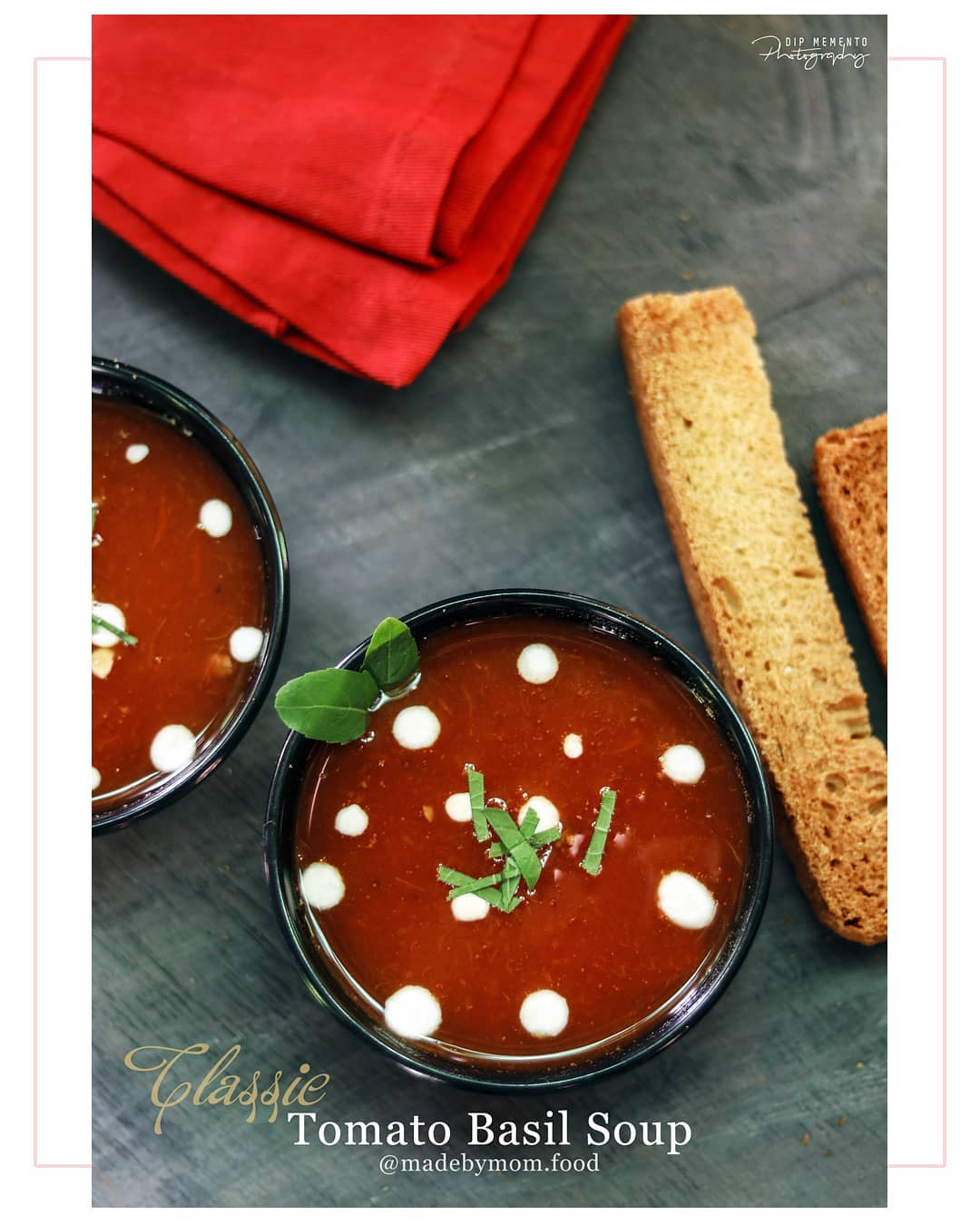 Classic Tomato Basil soup. . . . Full of basil and a hint of garlic, this soup will most likely be on you weekly rotation, no matter the season. I garnished this soup with blistered tomato pieces, shaved parmesan and basil. Make ahead and freeze in advance OR serve immediately. ********************************** From #madebymom #gujjufood @madebymom.food 🌶🌰🌰🌰🌰🍋🍋🍋🥔🥔🌶🌶 Food Shoot : @dip_memento_photography 🥒🥒🍋🍋🍋🥔🥔🌶🌶 #ahmedabad #food #photography #hungrito #foodporn #foodphotography #happymood  #happiness #foodpic #foodoftheday #foodlover #foodie #foodlove #foodporn #hungrito #productPhotography #Productshoot #foodclicks #aighungrito  #fooddi #happyPeople  #picoftheday #photoholic #magazine #magazineshoot  #magazinephotography #ahmedabadifoodholics